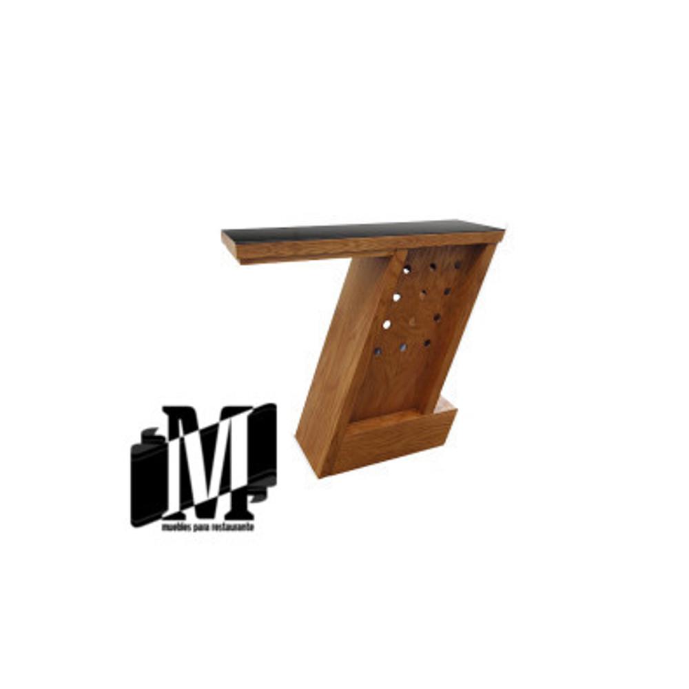 Barra en z de madera para restaurante bar muebles para for Barras en madera para bar